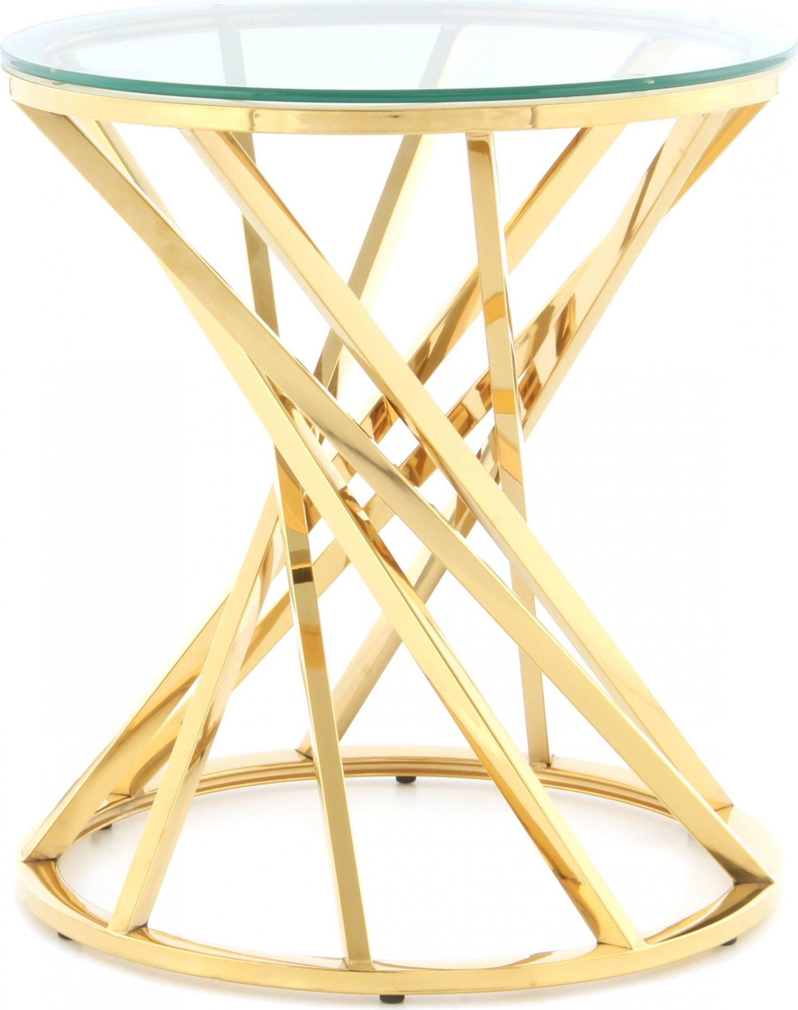 Table d'appoint ronde or plateau verre d50cm