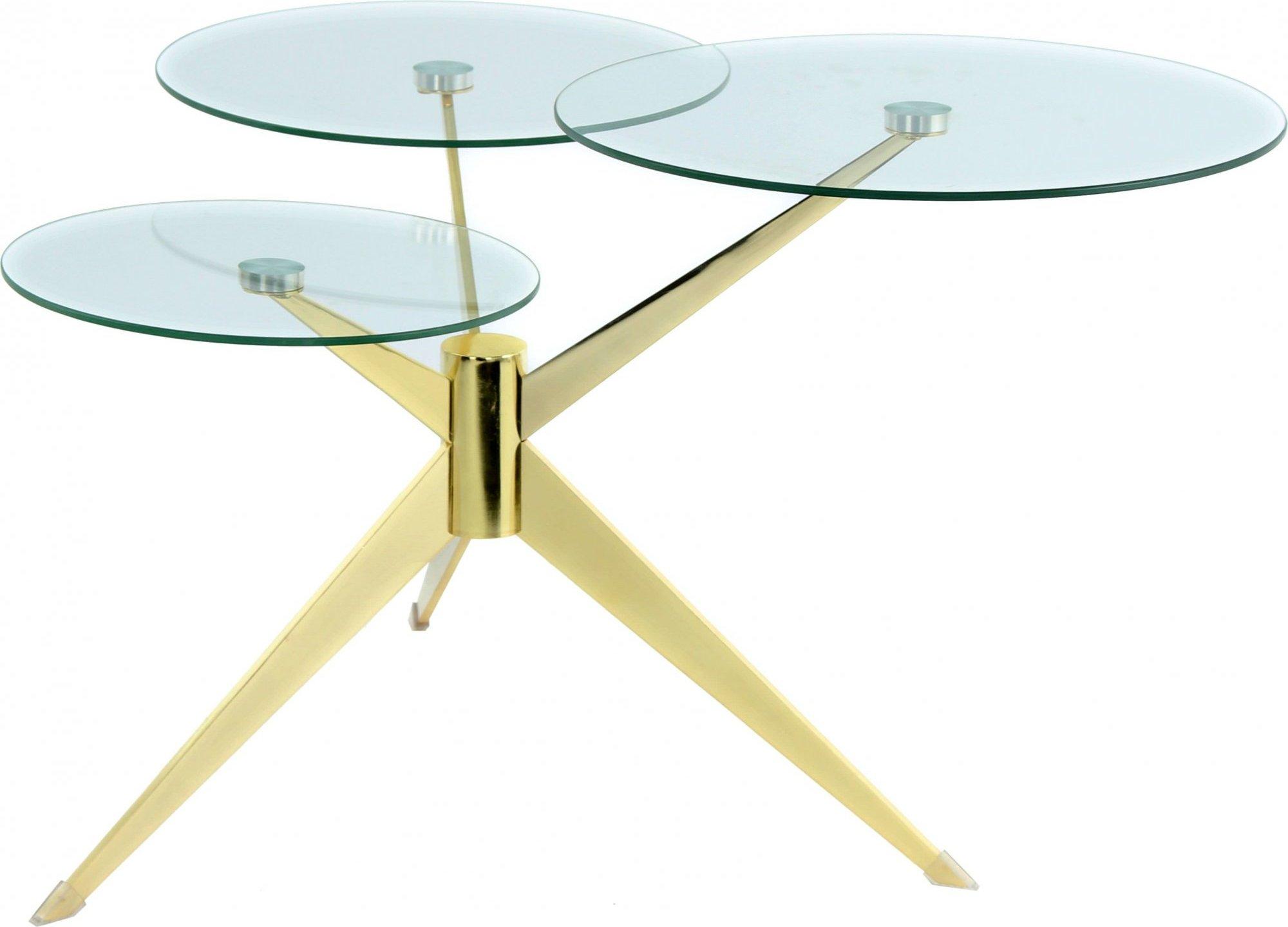 maison du monde Table basse composé 3 plateaux verre structure métal doré