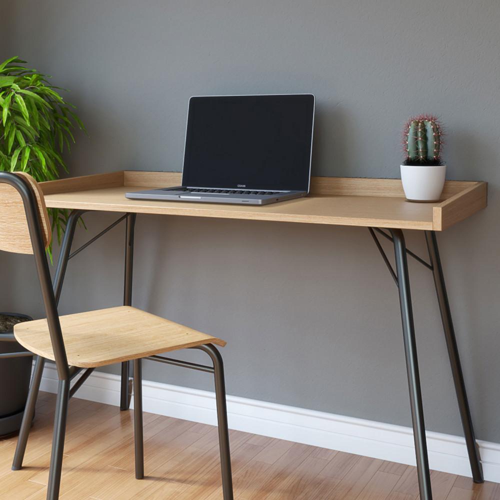 Bureau design métal et bois noir et chêne