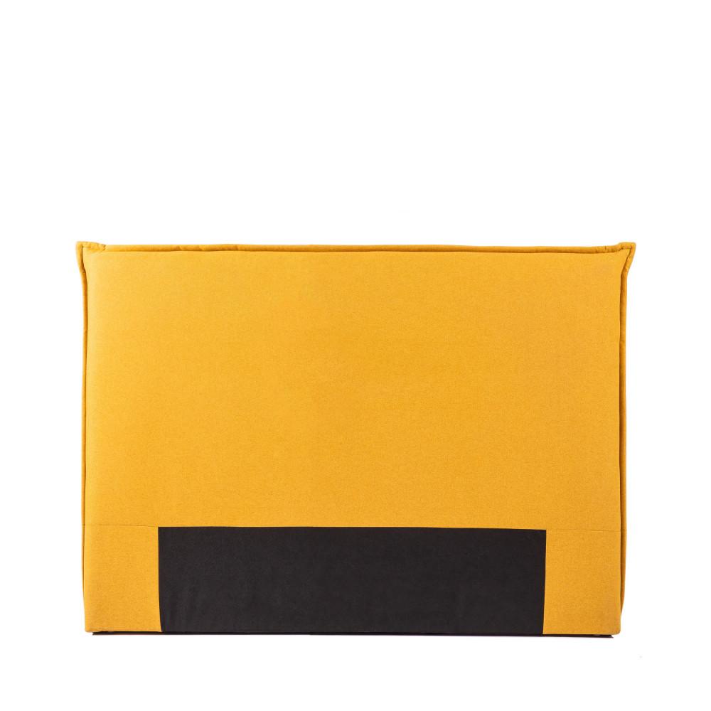 Tête de lit en tissu 150 cm jaune moutarde