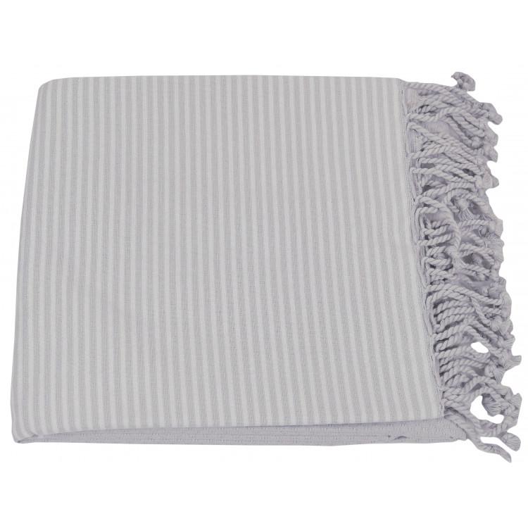 Drap de plage et fouta en coton gris 100x200