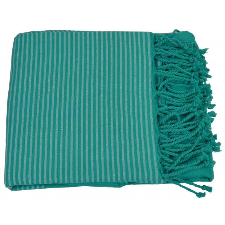 Drap de plage et fouta en coton bleu 100x200