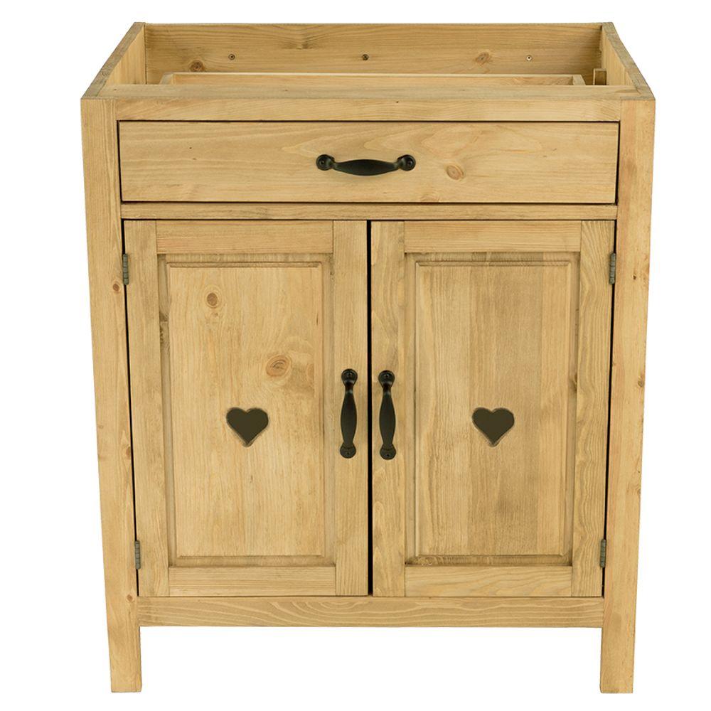 Meuble bas pin massif 80 cm 2 portes avec coeur 1 tiroir