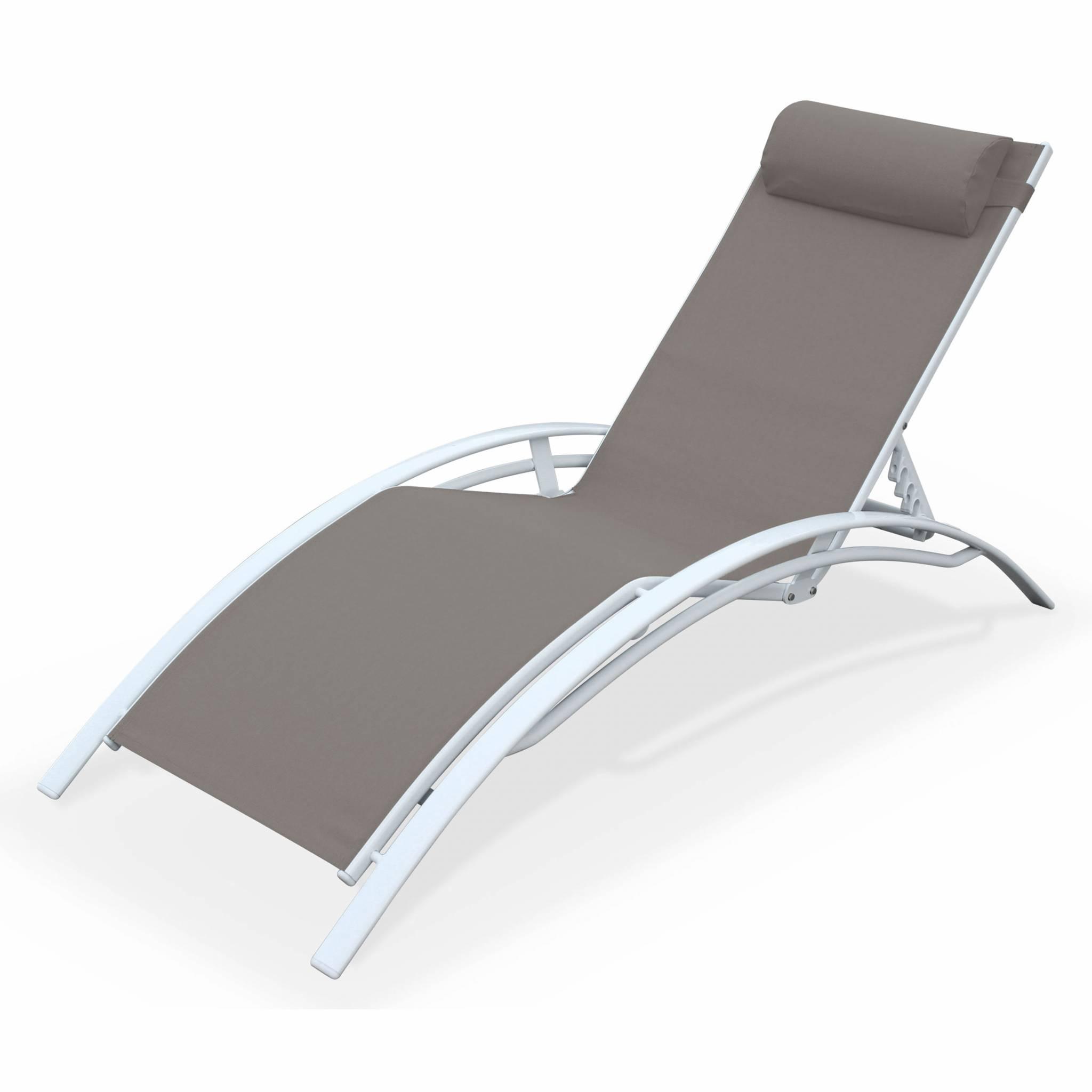 Bain de soleil en aluminium et textilène taupe et blanc