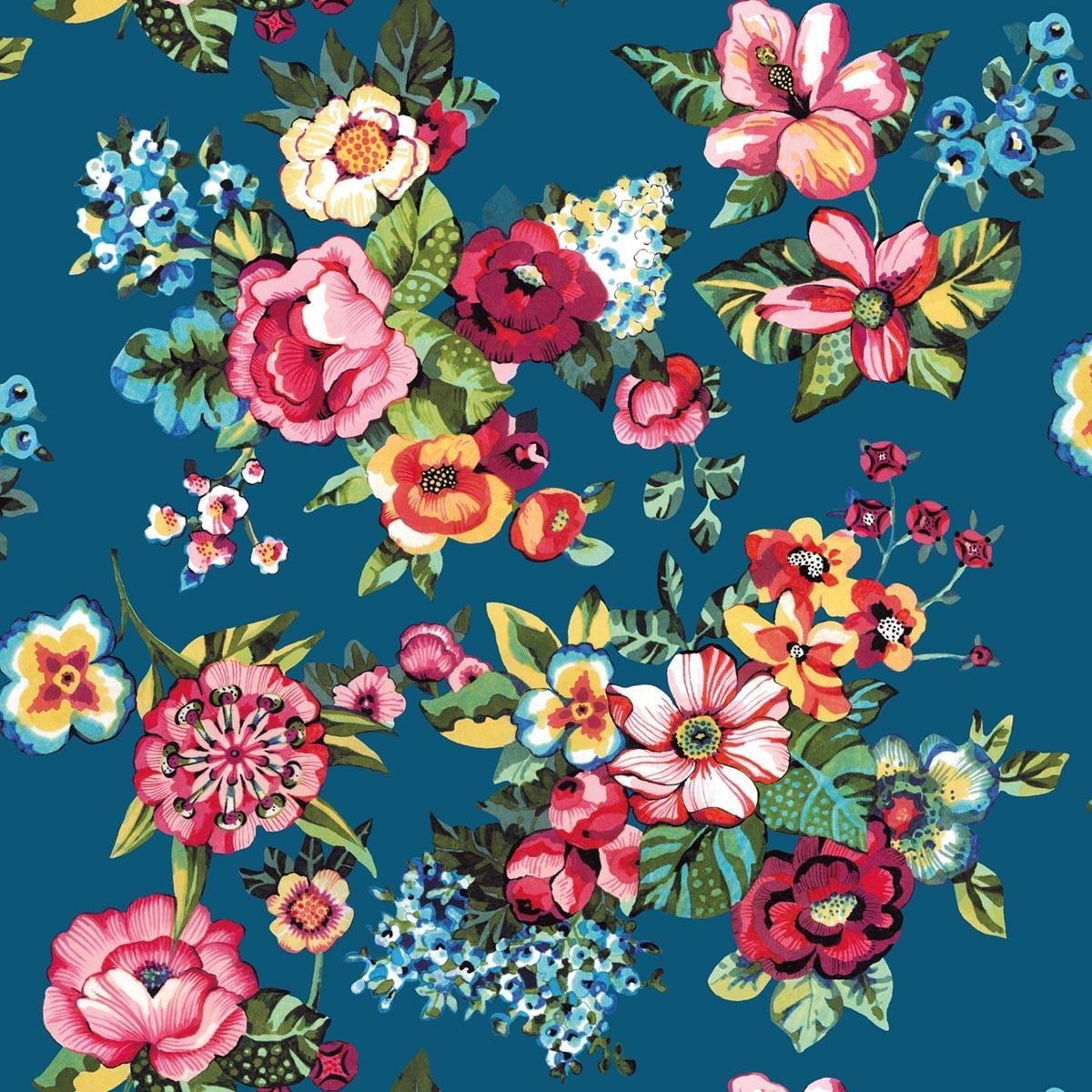 Toile de transat prête à poser imprimé fleuri bleu
