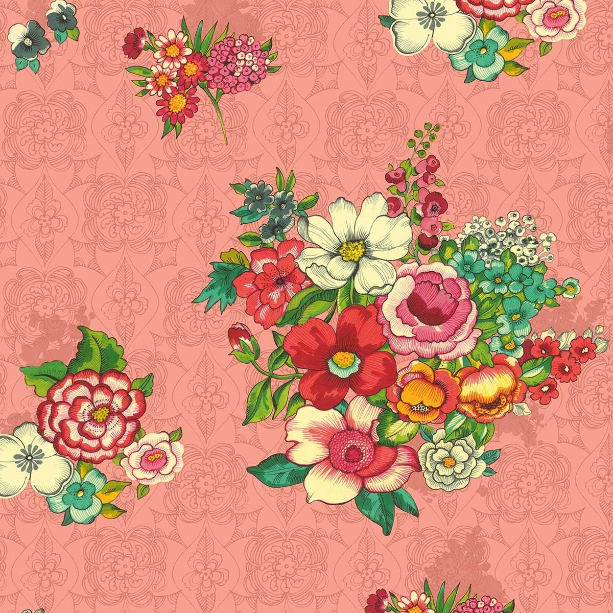 Toile de transat prête à poser imprimé fleuri rose corail