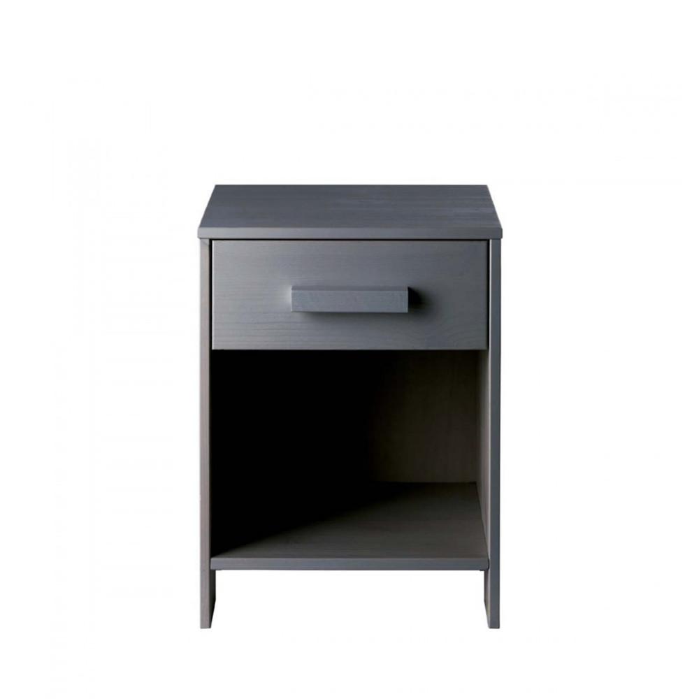 Table de chevet bois fsc gris anthracite