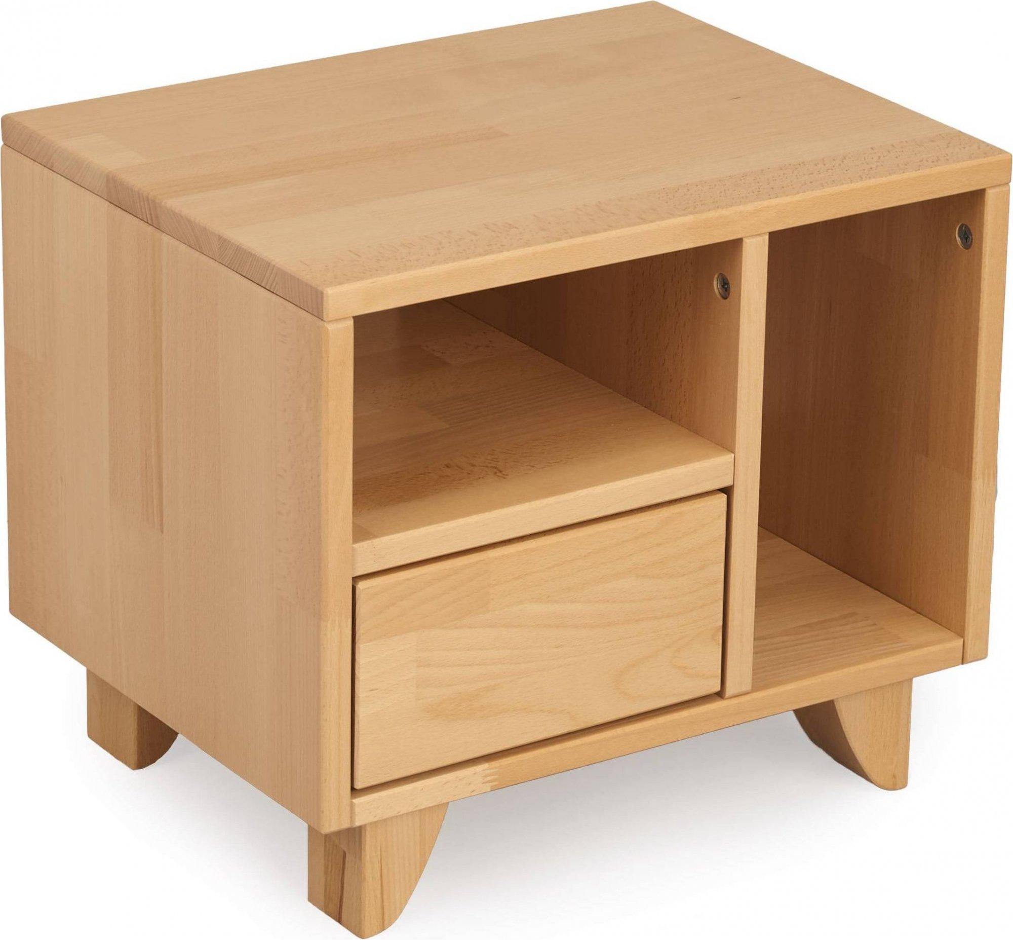 Table de chevet 2 niches 1 tiroir en hêtre massif bois clair