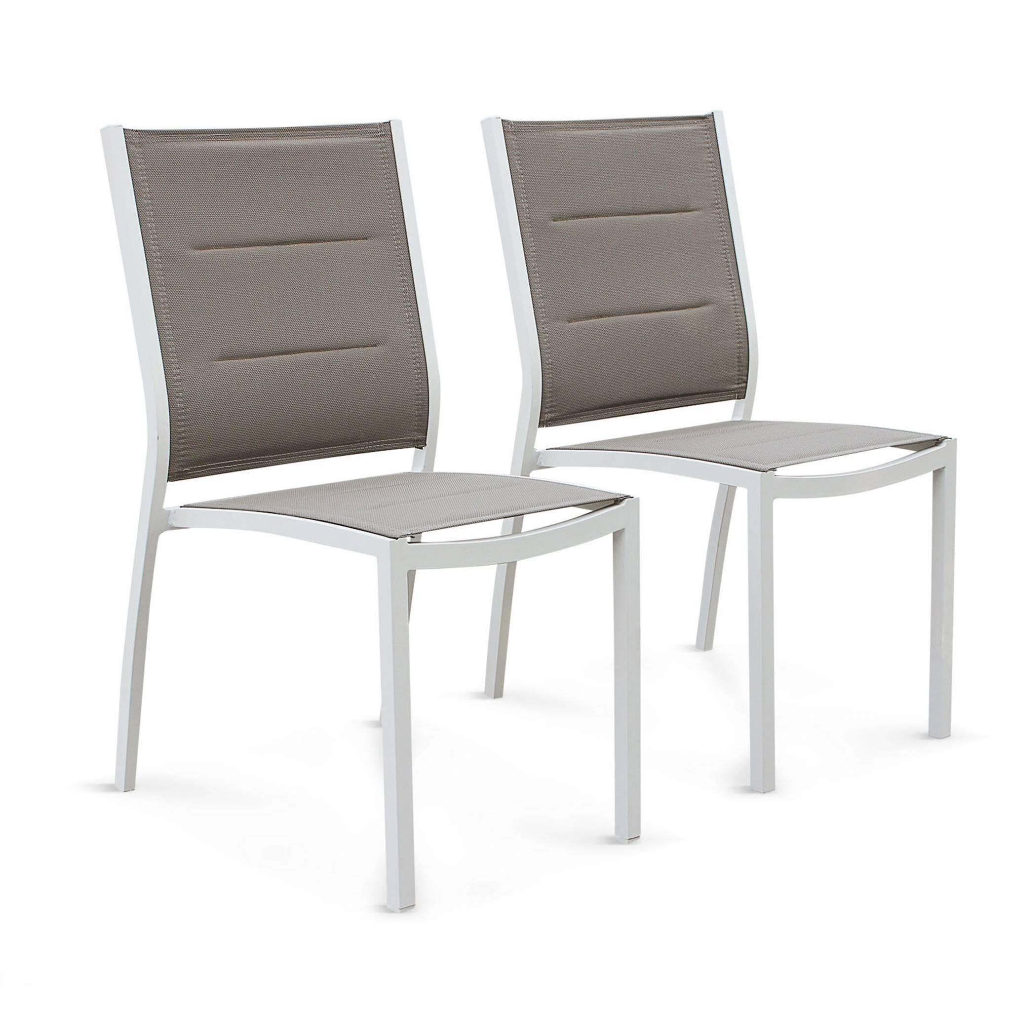 Lot de 2 chaises en aluminium blanc et textilène taupe