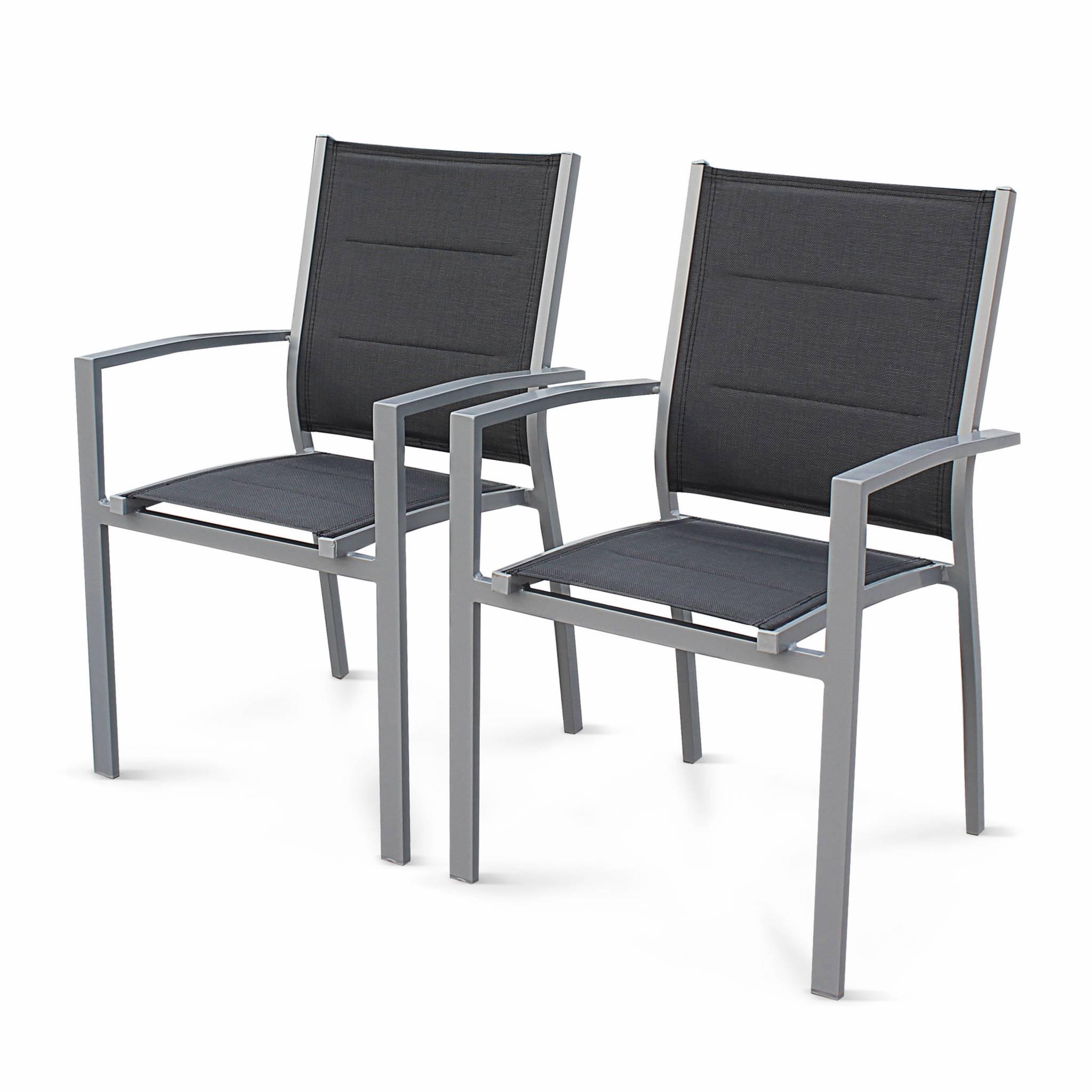 Lot de 2 fauteuils en aluminium gris et textilène anthracite
