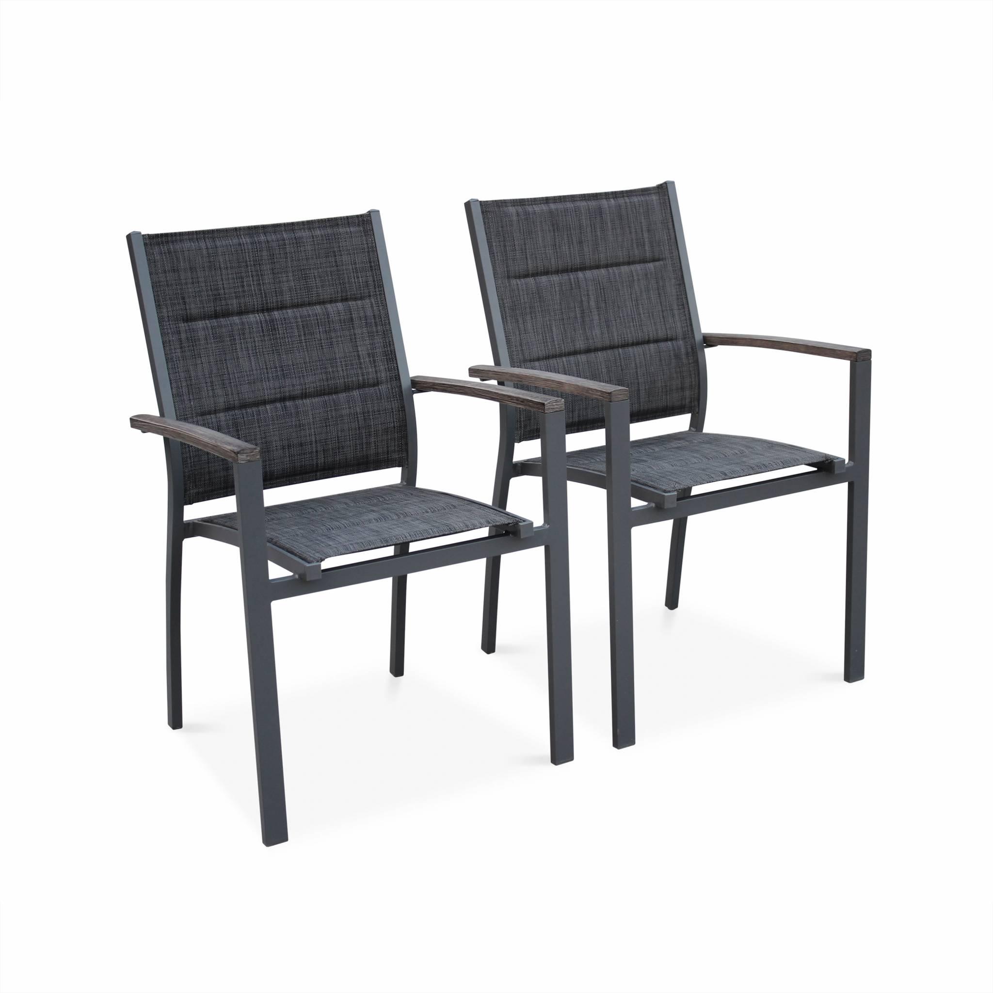 Lot de 2 fauteuils en aluminium et textilène gris foncé
