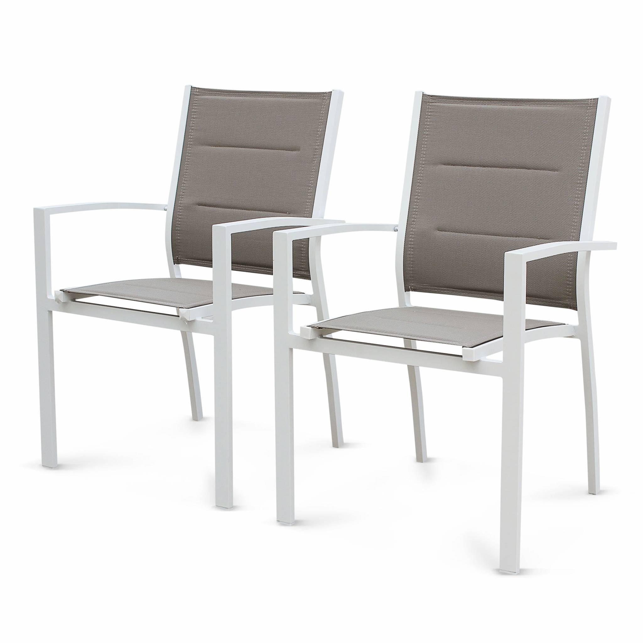 Lot de 2 fauteuils en aluminium blanc et textilène taupe