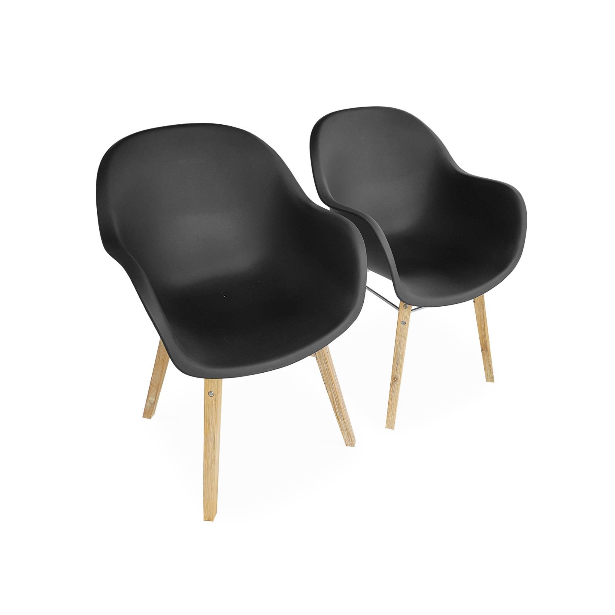 Lot de 2 fauteuils en acacia et résine injectée anthracite
