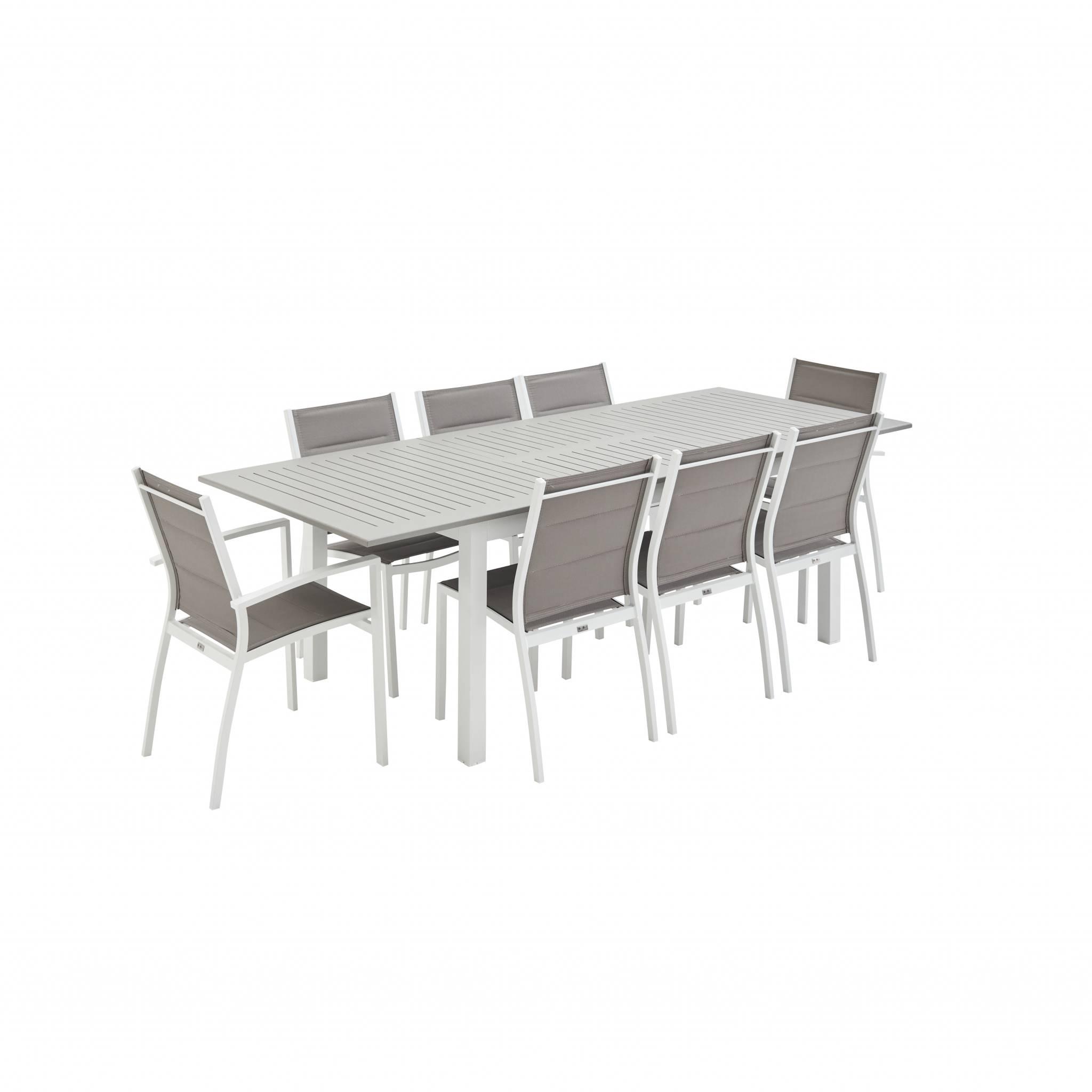 Ensemble table extensible et chaises 8 places blanc/taupe