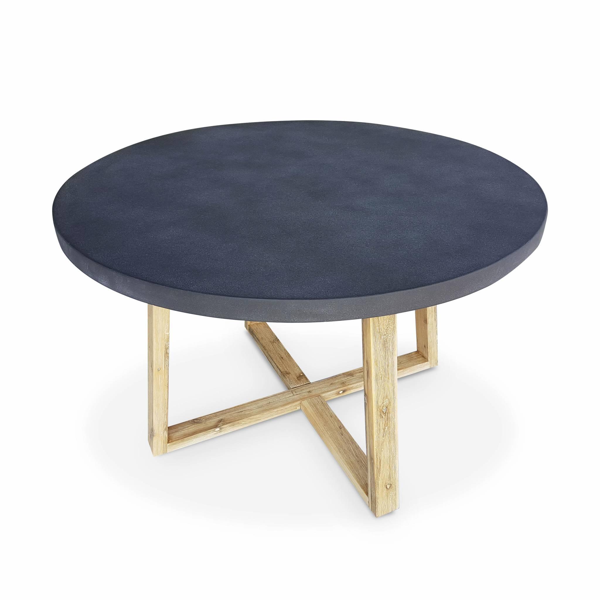 Table en fibre de ciment D 120cm piètement en bois gris