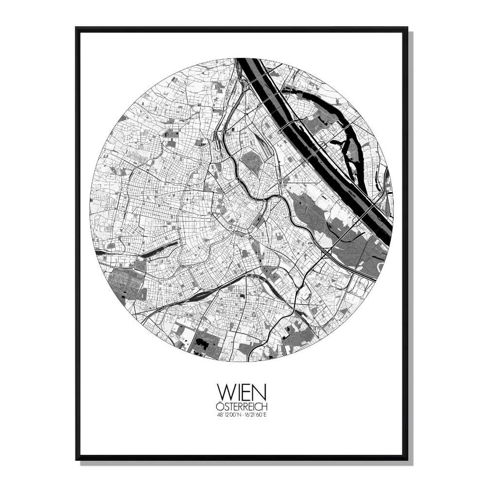 VIENNE - Carte City Map Rond 40x50cm