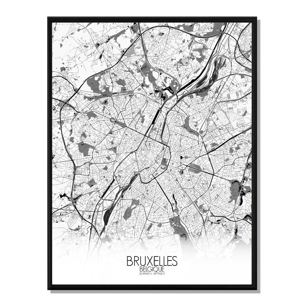 BRUXELLES - Carte City Map N&B 40x50cm