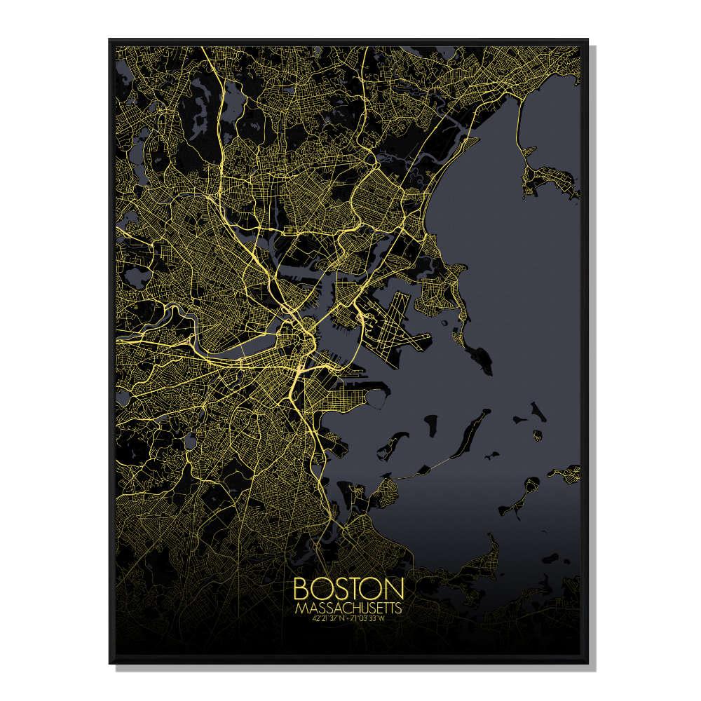 BOSTON - Carte City Map Nuit 40x50cm