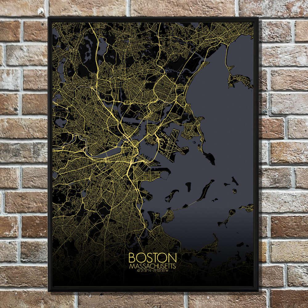 BOSTON - Carte City Map Nuit 40x50