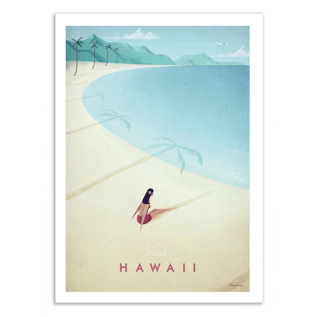 VISIT HAWAII -  Affiche d'art 50 x 70 cm