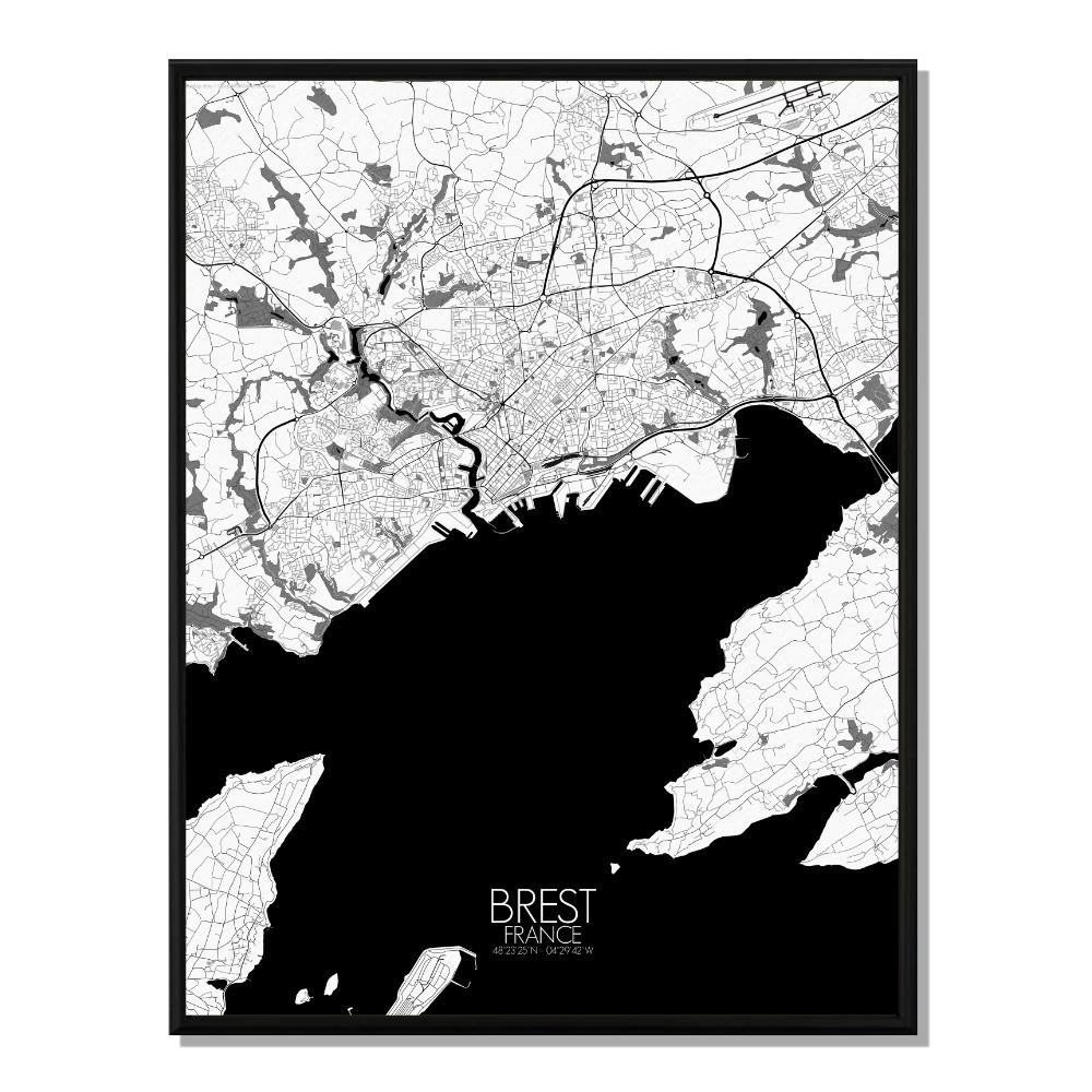 BREST - Carte City Map N&B 40x50cm