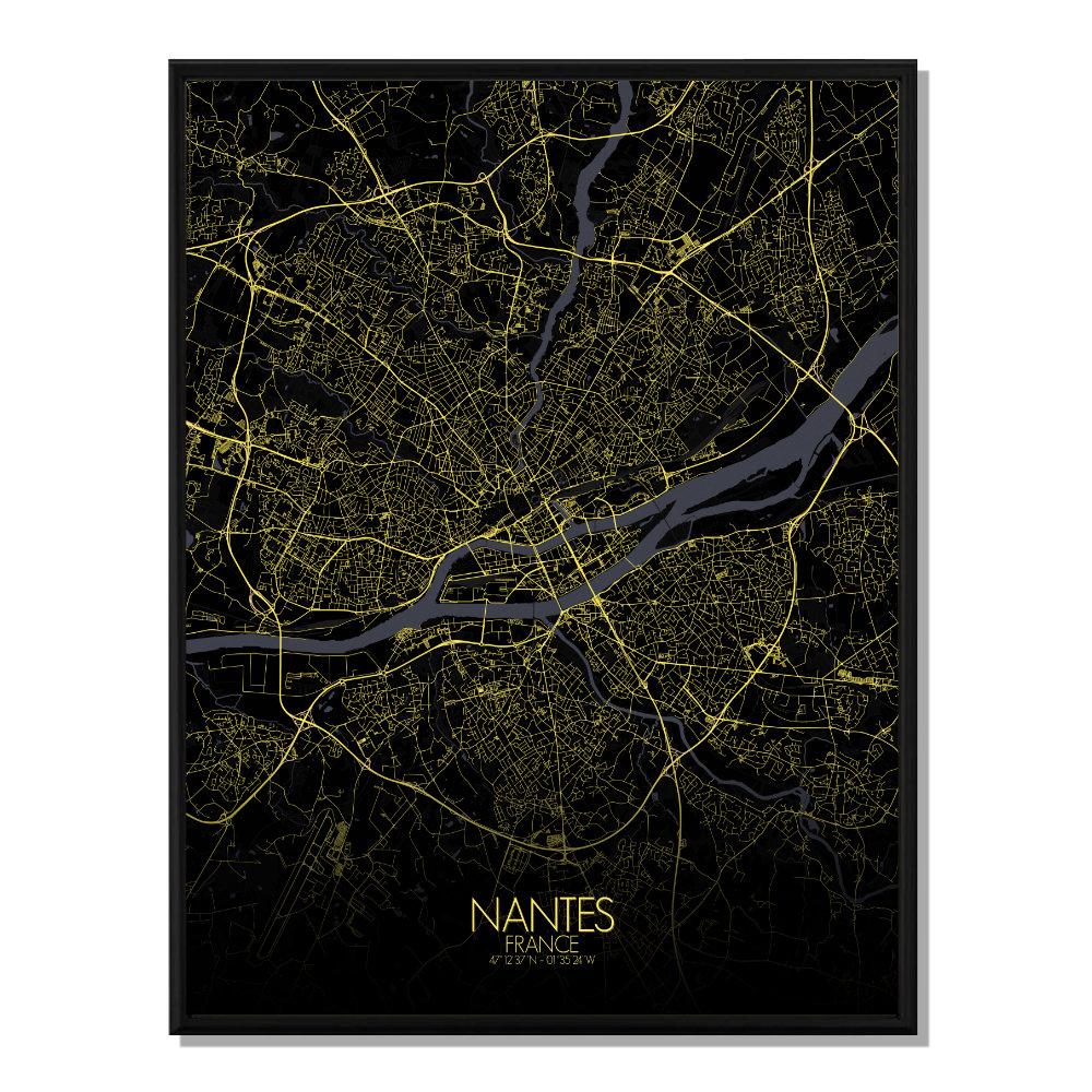 NANTES - Carte City Map Nuit 40x50cm