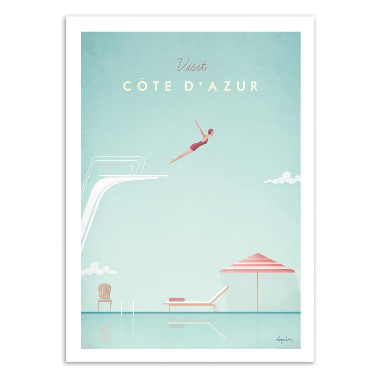 VISIT COTE D'AZUR -  Affiche d'art 50 x 70 cm
