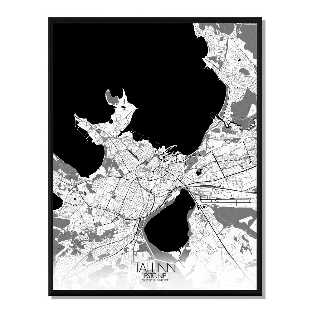 TALLINN - Carte City Map N&B 40x50cm