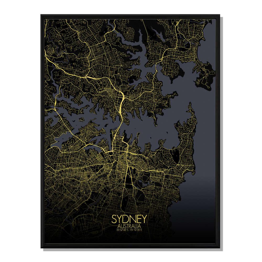 SYDNEY - Carte City Map Nuit 40x50cm