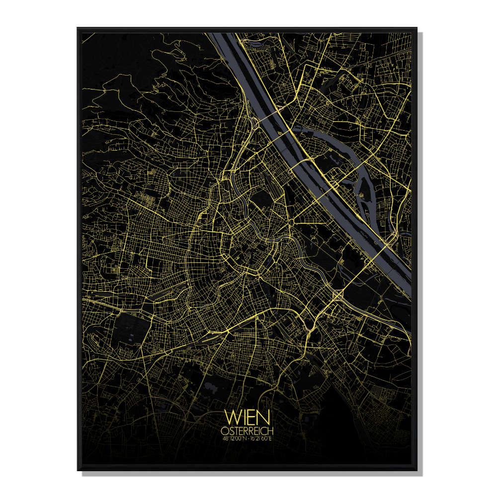 VIENNE - Carte City Map Nuit 40x50cm