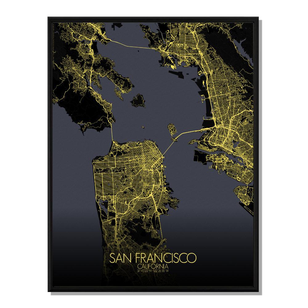SAN FRANCISCO - Carte Map Nuit 40x50cm