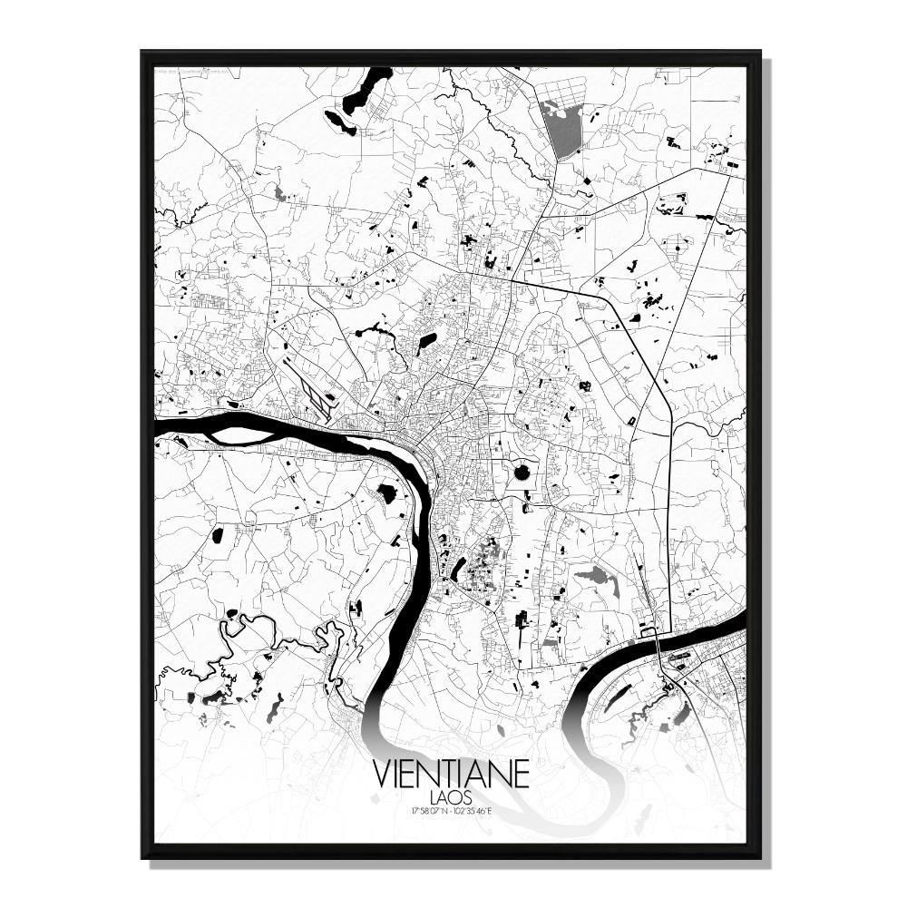 VIENTIANE - Carte City Map N&B 40x50cm