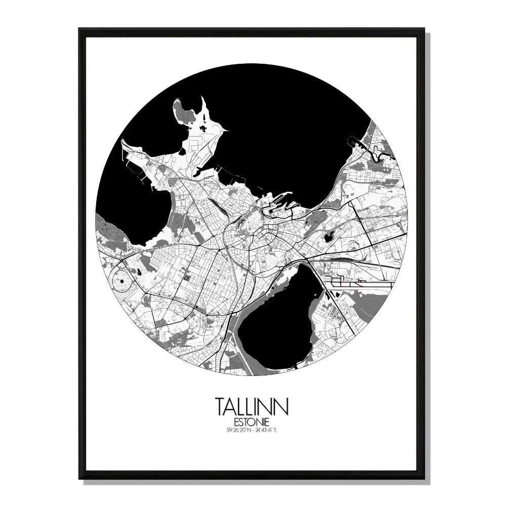 TALLINN - Carte City Map Rond 40x50cm