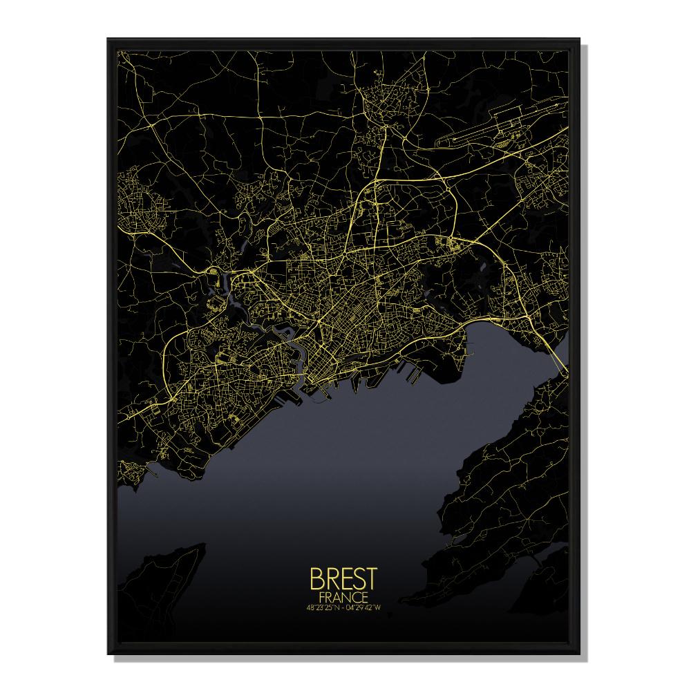 BREST - Carte City Map Nuit 40x50cm