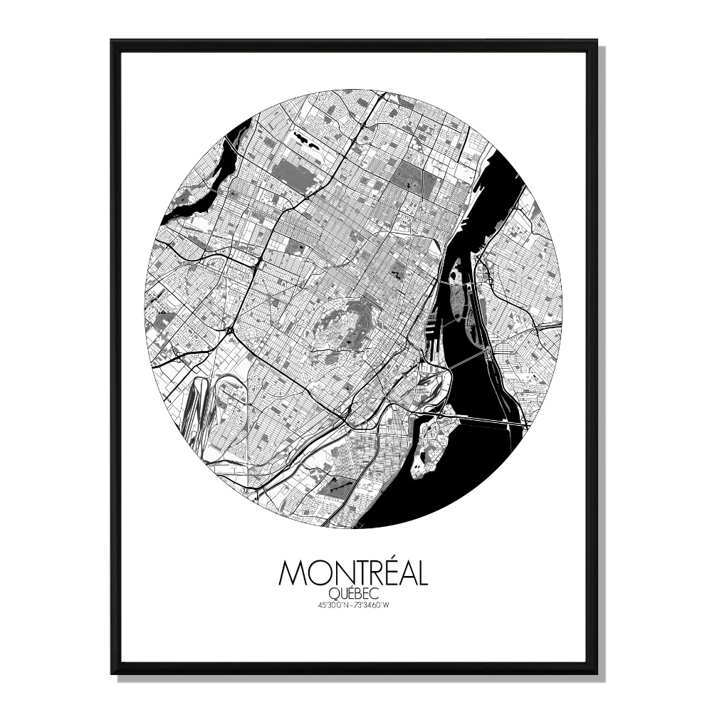 MONTREAL - Carte City Map Rond 40x50cm