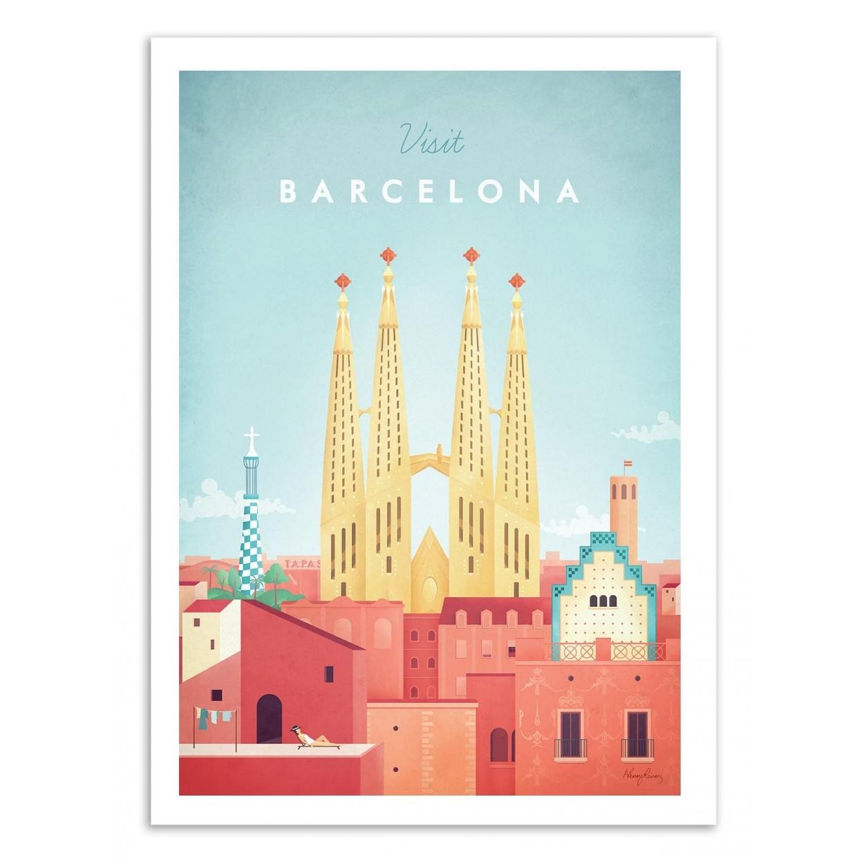 VISIT BARCELONA -  Affiche d'art 50 x 70 cm