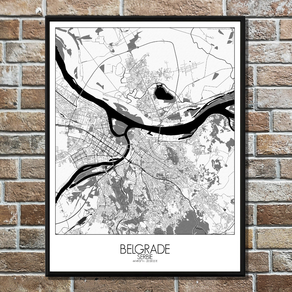 BELGRADE - Carte City Map N&B 40x50