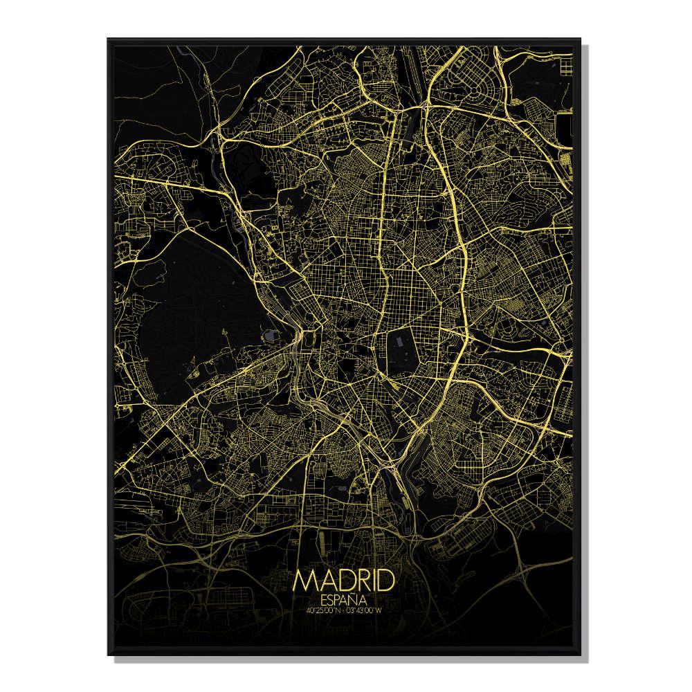 MADRID - Carte City Map Nuit 40x50cm
