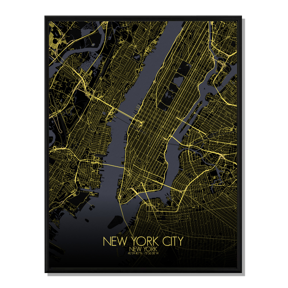 NEW YORK - Carte City Map Nuit 40x50cm