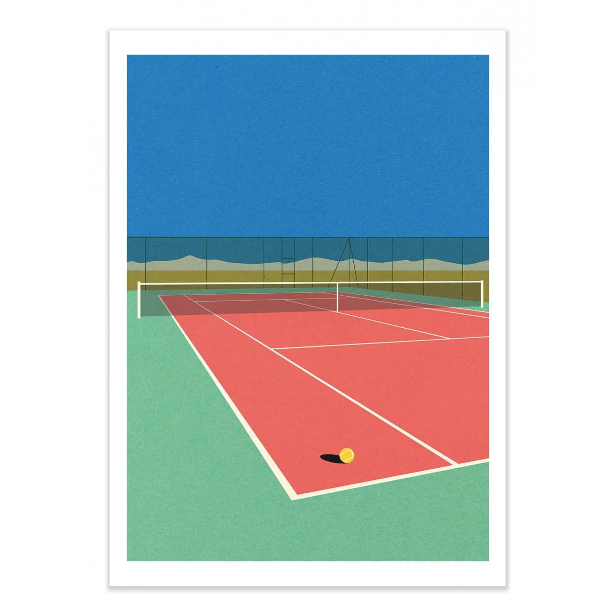 TENNIS COURT IN THE DESERT - Affiche d'art 50 x 70 cm