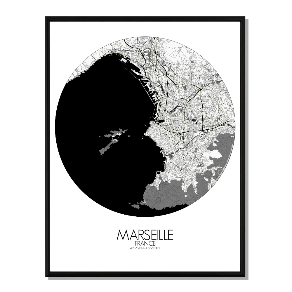 MARSEILLE - Carte City Map Rond 40x50cm