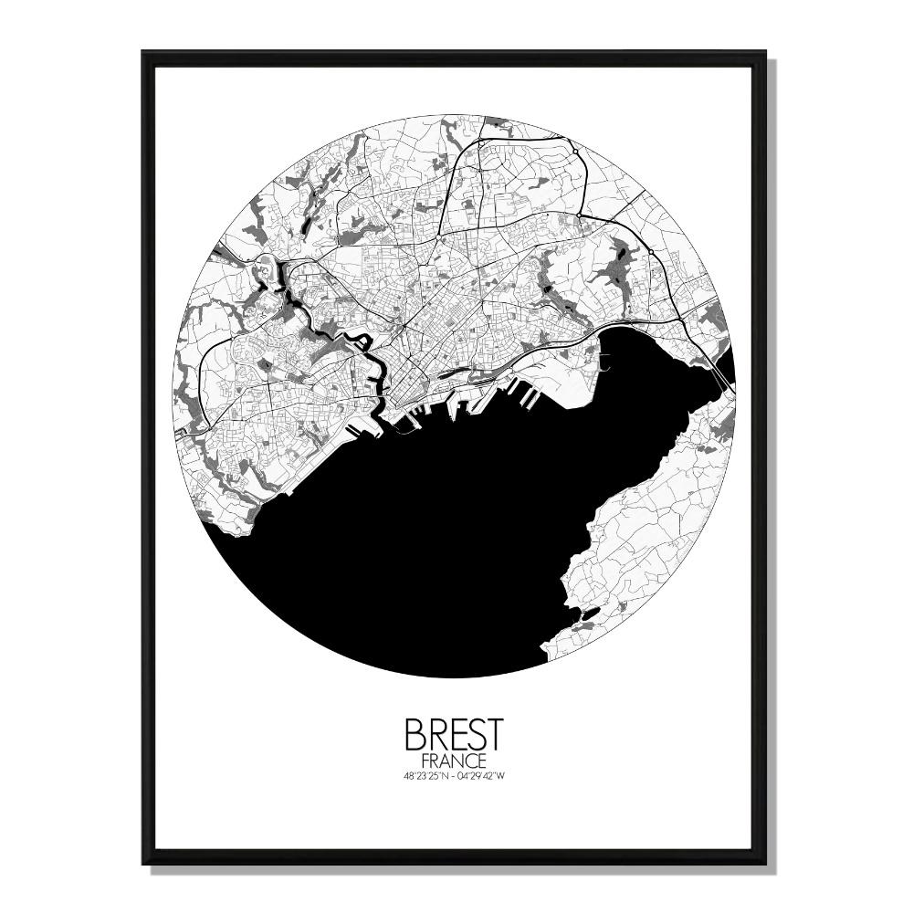 BREST - Carte City Map Rond 40x50cm