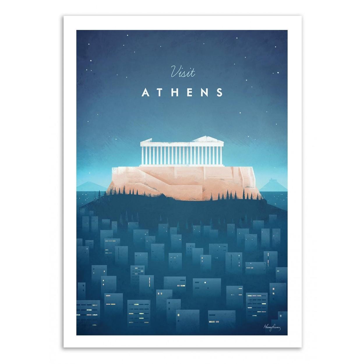 VISIT ATHENS -  Affiche d'art 50 x 70 cm