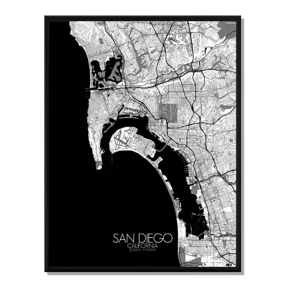 SAN DIEGO - Carte City Map N&B 40x50cm
