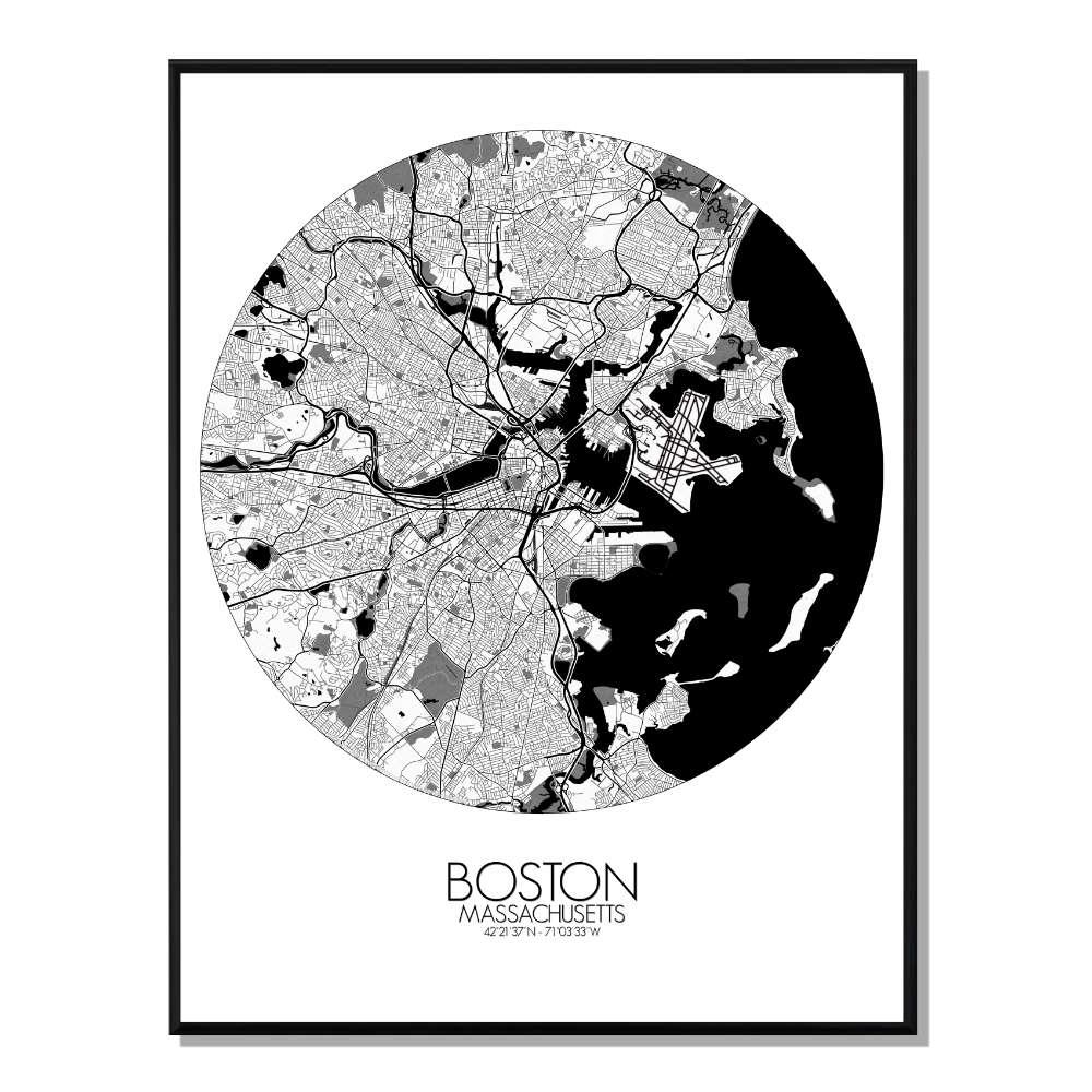 BOSTON - Carte City Map Rond 40x50cm