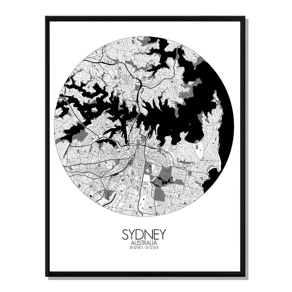 SYDNEY - Carte City Map Rond 40x50cm