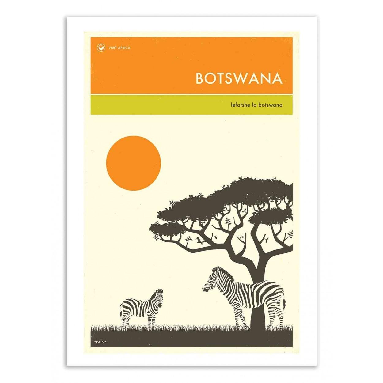 BOTSWANA TRAVEL POSTER -  Affiche d'art 50 x 70 cm
