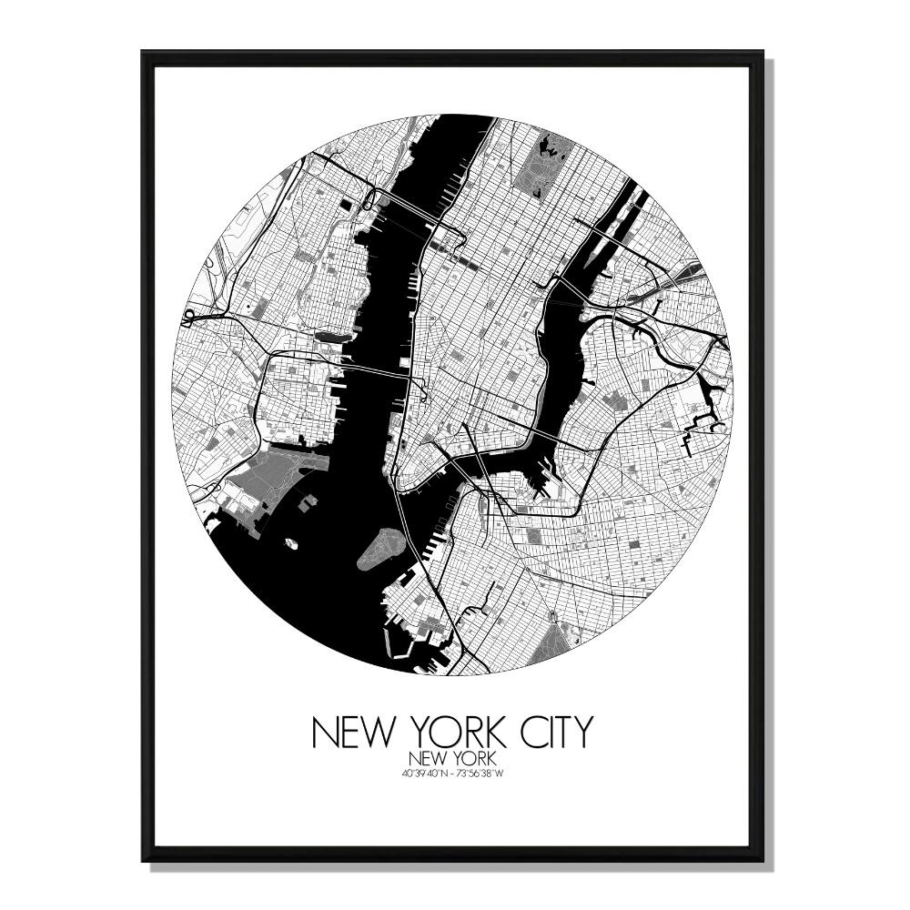 NEW YORK - Carte City Map Rond 40x50cm
