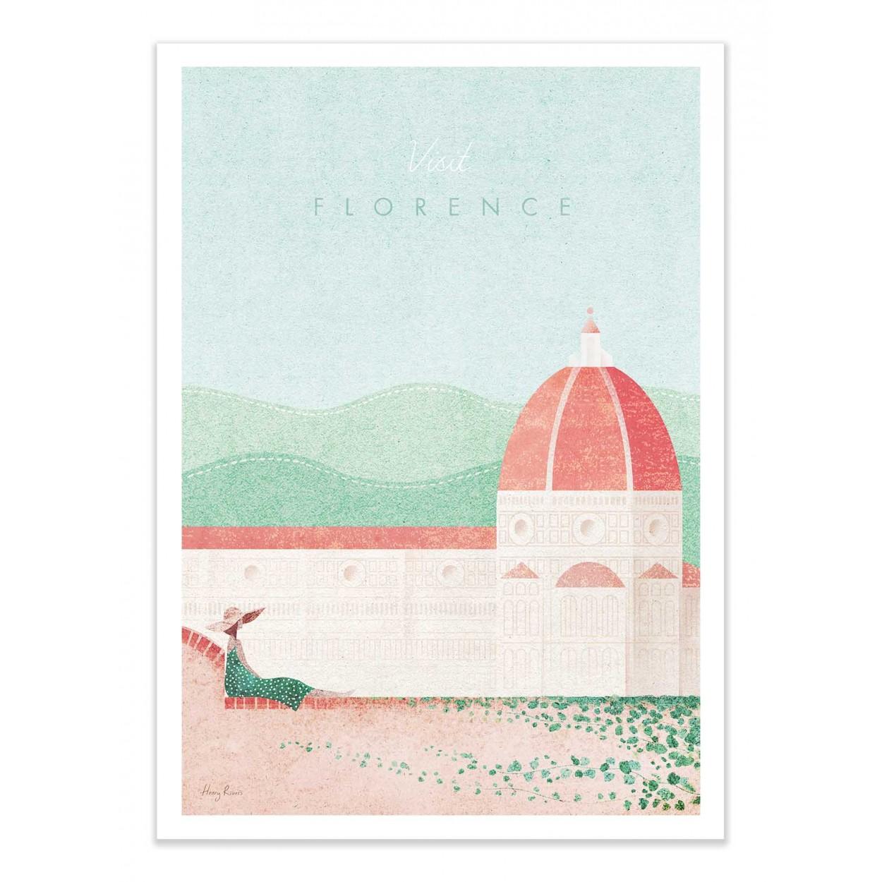 VISIT FLORENCE -  Affiche d'art 50 x 70 cm