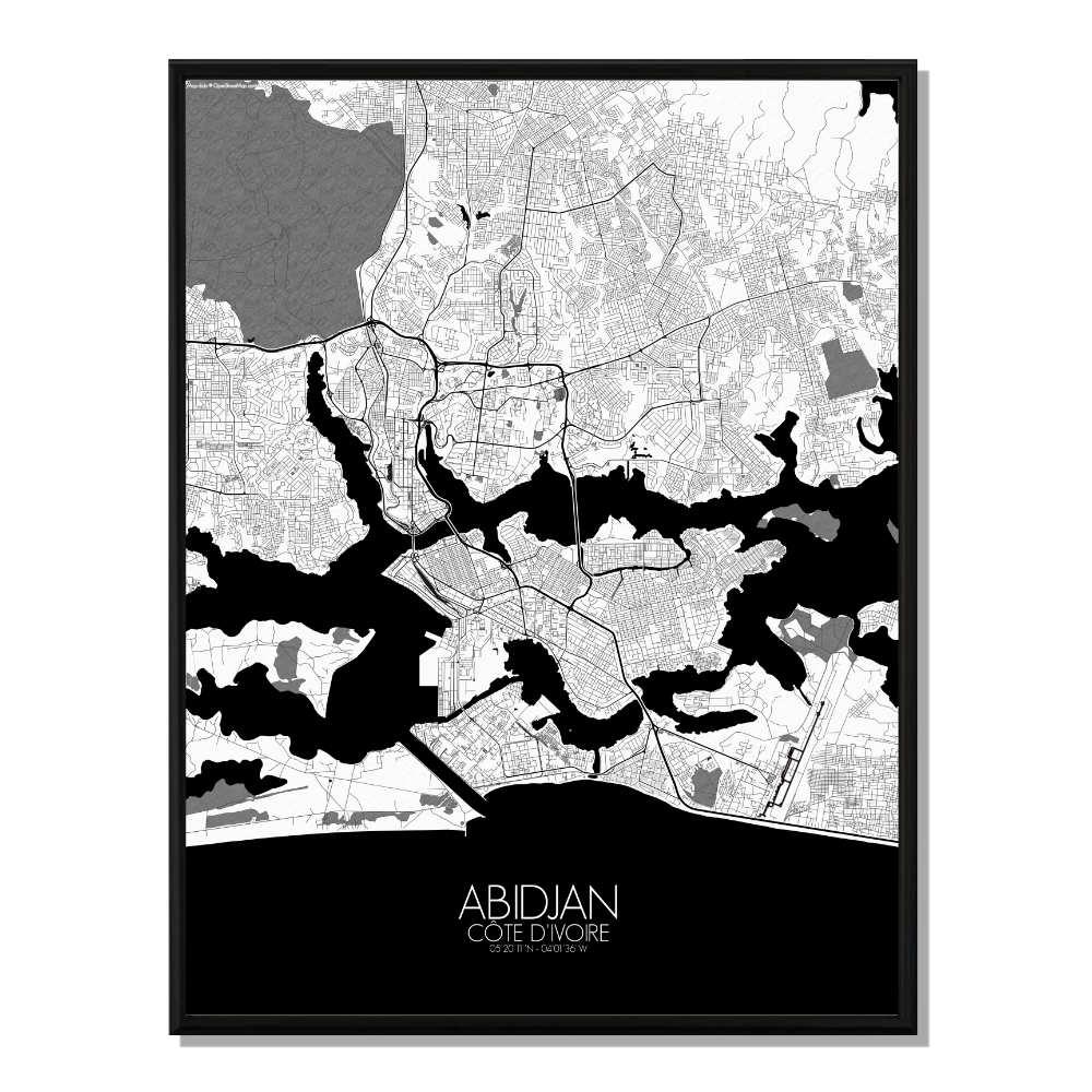 ABIDJAN - Carte City Map N&B 40x50